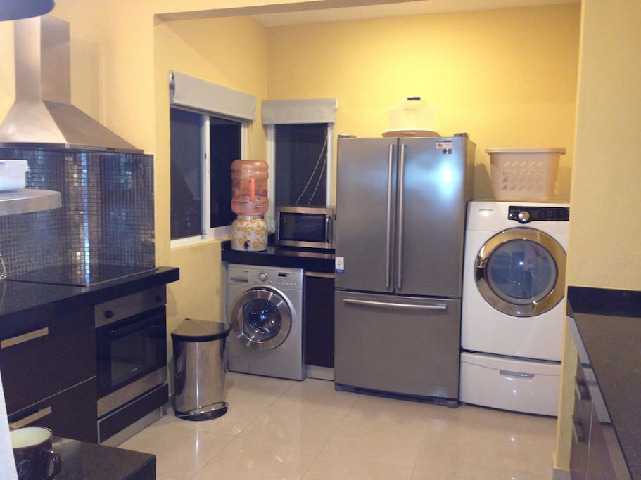 Kitchen/ washing machine /dryer /fridge /stove/oven / microwave / drinking water.