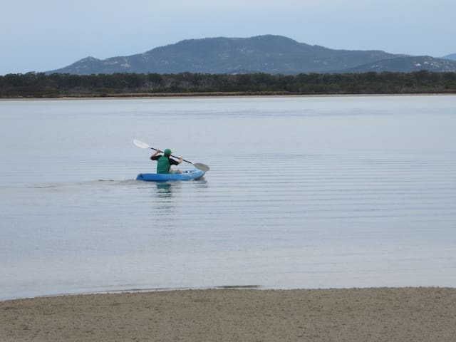 Kayaking with Wilson's Promontory in the distance