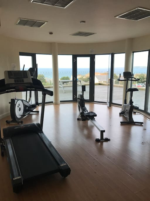 Gym at apartments which you have use of with amazing sea views