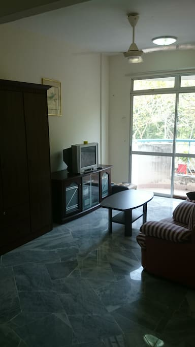 Air-Conditioned Living Room with TV and DVD Player