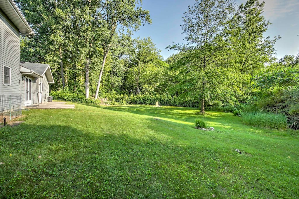 The large yard is great for kids or a group to enjoy a cookout.