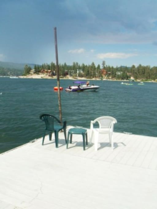 Dock for sunning and boating extends far into Lake.