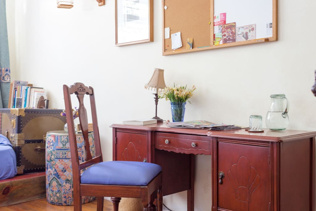 You have a desk in your bedroom, where you can work comfortably