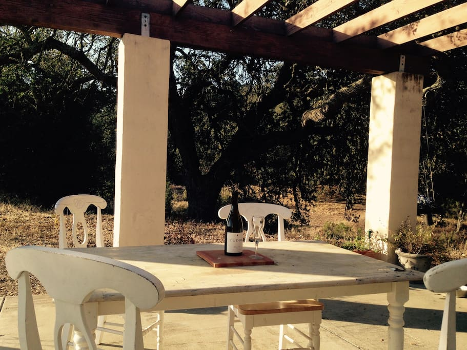 back patio, view of oaks, creek with French table and 4 chairs