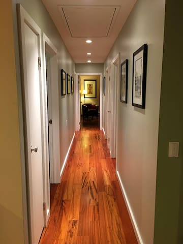 Modern hallway lined with real Tigerwood floors throughout home.