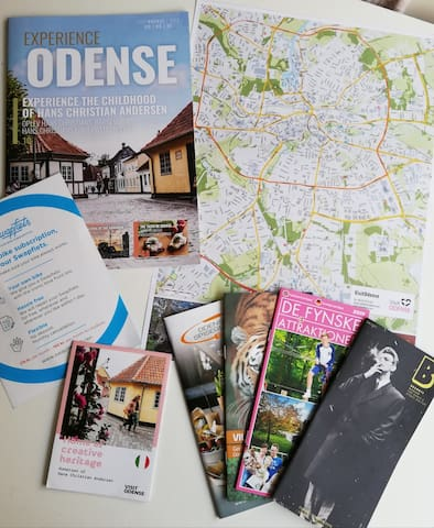 Kort og info om attraktioner i Odense  Map and information about things to see and do in Odense