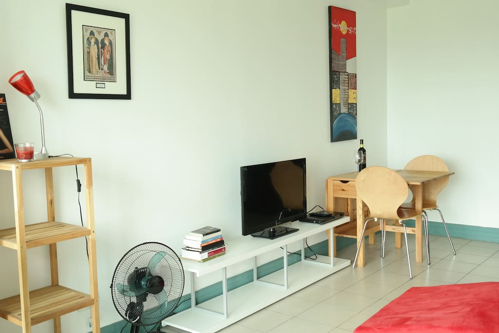 A simple but stylish lounge. The TV is for playing DVDs
