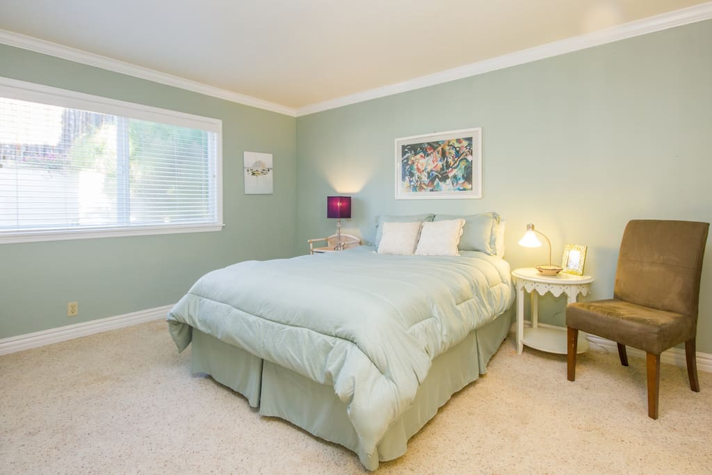 Your private room, with a great view of the garden outside the window.