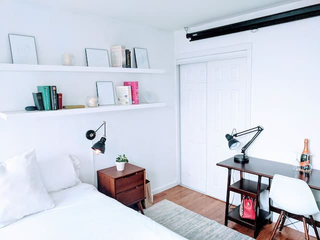 Lamp for night reading with a closet with a personal security safe, mini-bar fridge and shoe rack. Desk for any work that you might need to do.