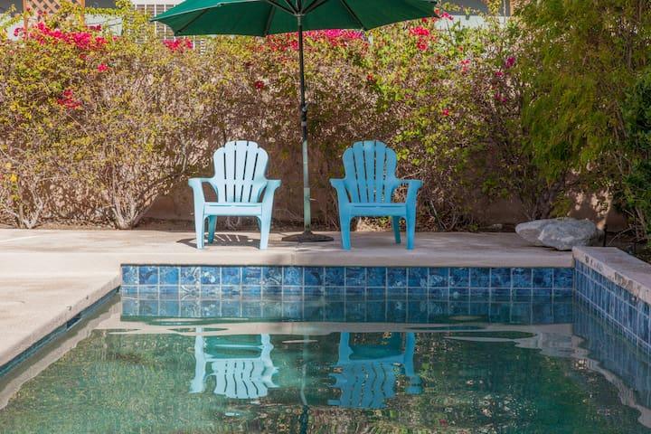 Sunning pool deck.