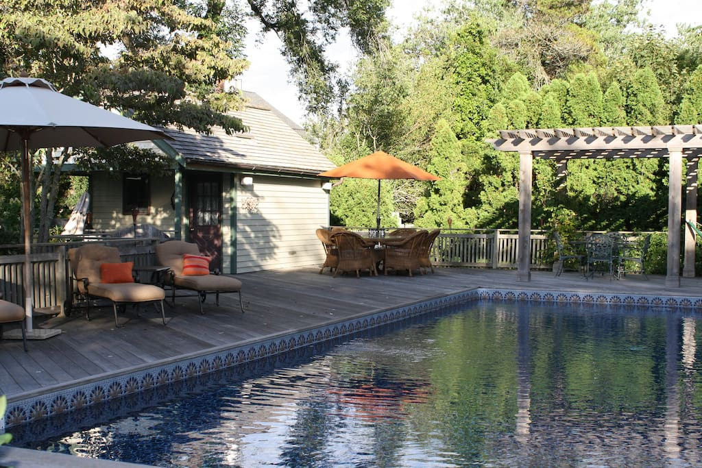 Pool with plenty of dining furniture and chaises.