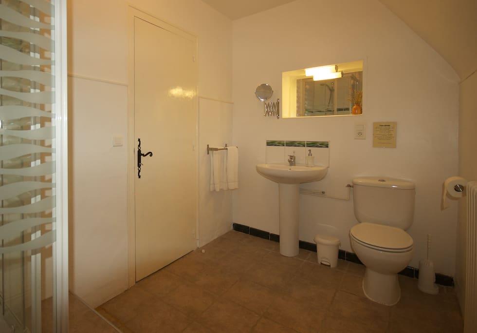 Room 2  big private shower room immediately opposite. La chambre 2 salle d'eau privée en face de la chambre.