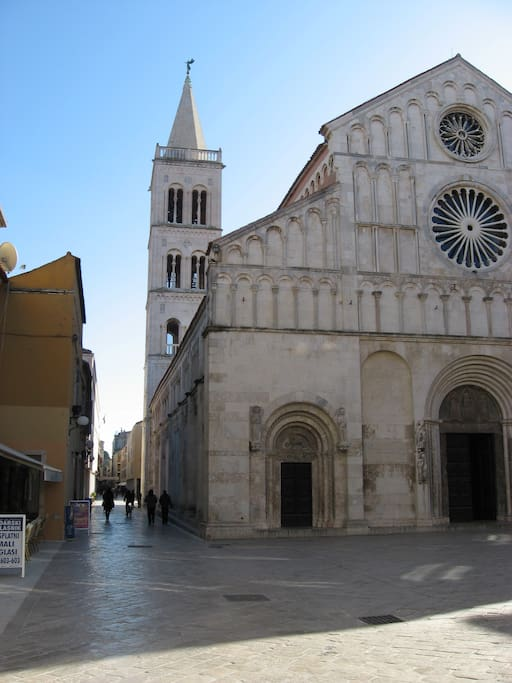 Town main street where accommodation is located, old stone and 12th century cathedral