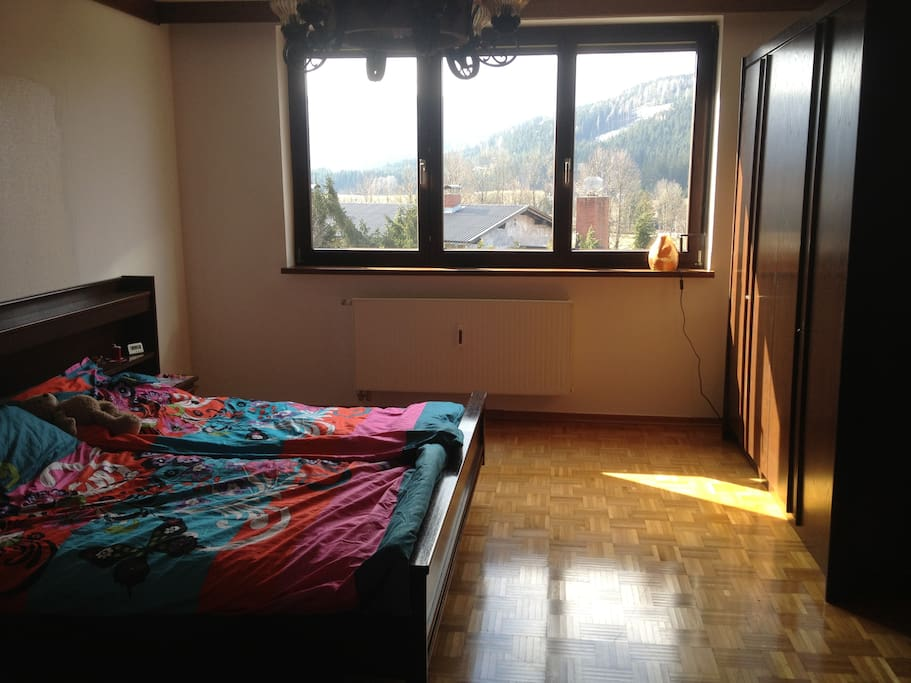 Huge master bedroom, with glorious views of the mountains.