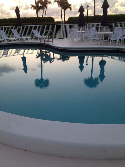 The pool at sunrise.