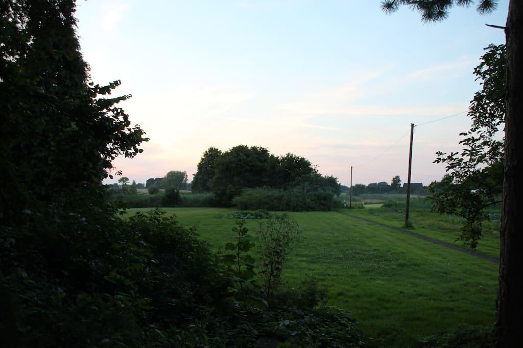 Große Wiese mit Zugang zum Rhin zur Alleinnutzung