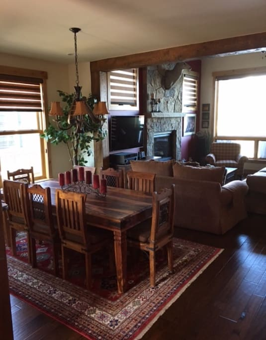 Upstairs living and dining with gas fireplace.