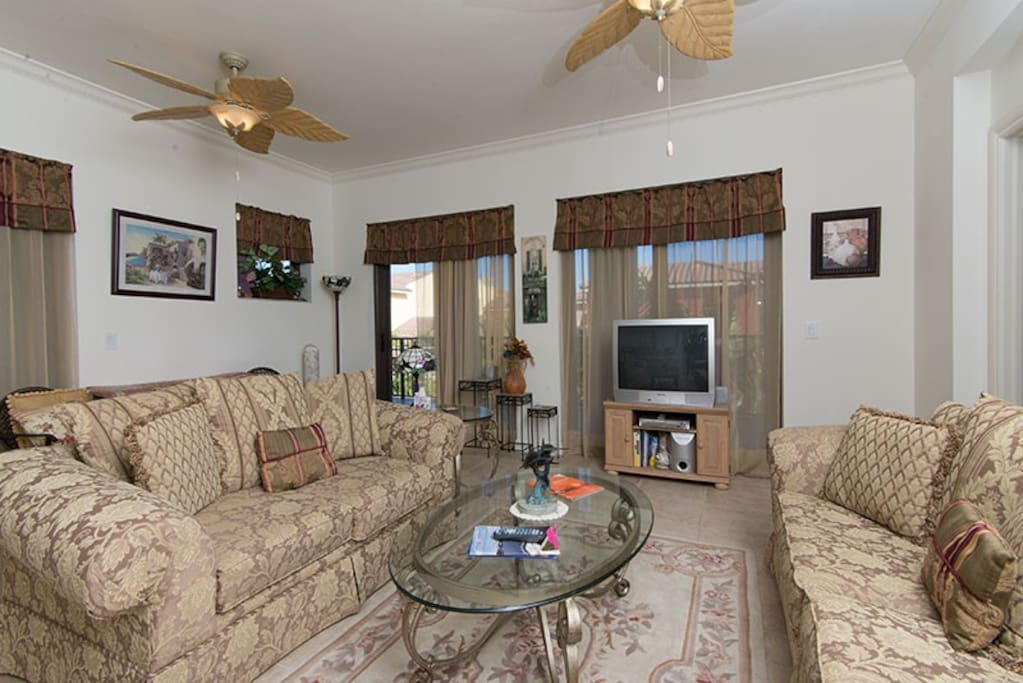 Living area ..32 inch TV With dvd surround sound system ..Wireless Internet throughout unit ...Sleeper sofa if needed  also ..10 bottle wine cooler in living room too ...