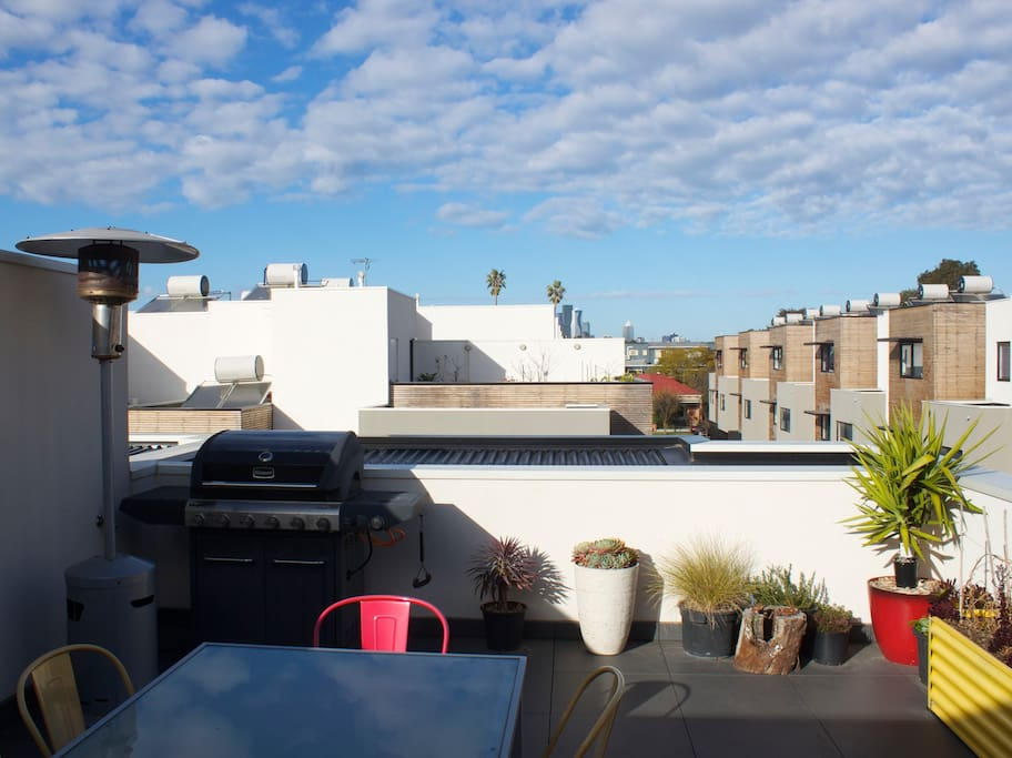 Rooftop terrace and views to the city