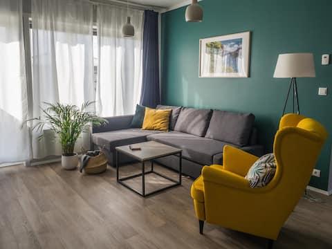 Appartement élégant avec 2 chambres, petit déjeuner inclus