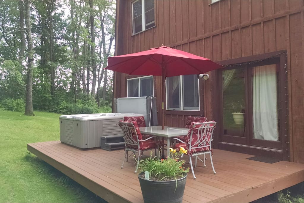 Your own deck with hot tub.