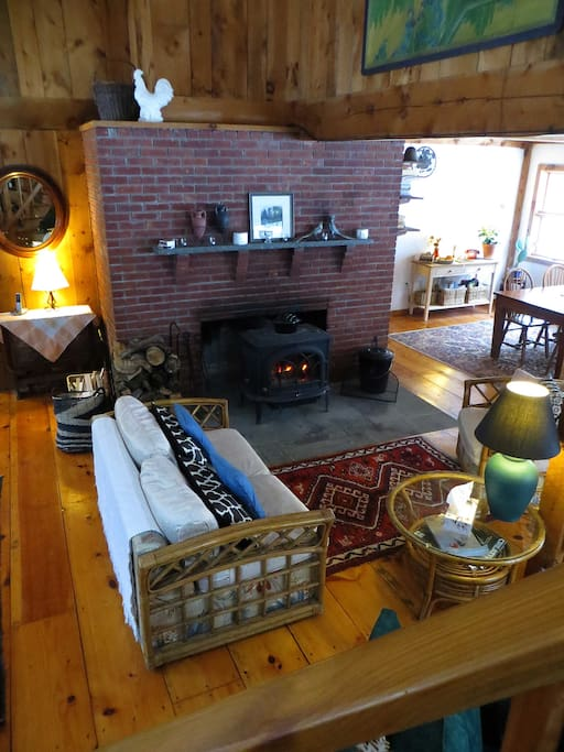 Enjoy the welcoming warmth of a lovely fire in the wood stove during the winter months.