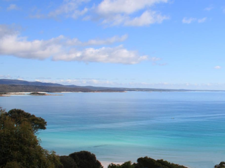 The Bay of Fires from Sea Eagle Cottage's Huge Deck. You can see this from the comfort of every bed.