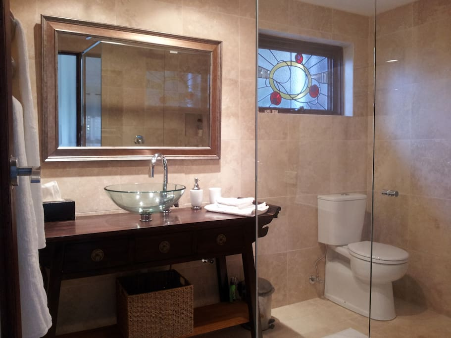 Luxury bathroom with a double shower