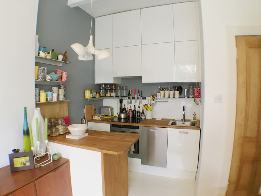 Well equipped compact kitchen including dishwasher.