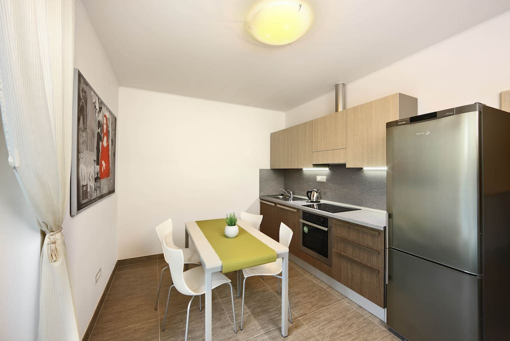 Kitchen equipped with dishwasher, stove, oven, microwave, fridge, toaster, coffee maker...