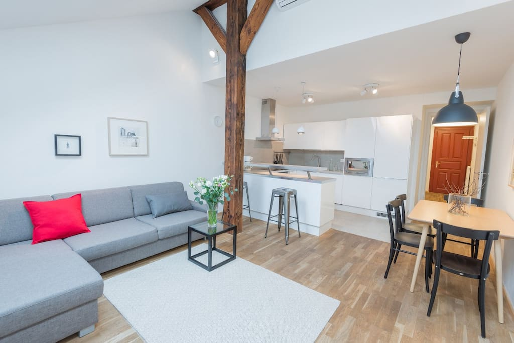 Vladislav Attic Duplex Prague apartment - Living room