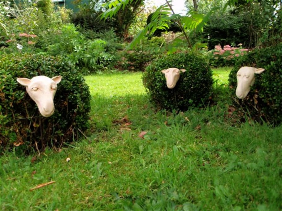 Box sheep in the garden. Learn how to make your own sculptures or pots right here at our Pottery School.