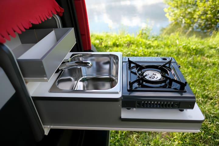 Stove with gas cartridges and stainless steel sink, faucet