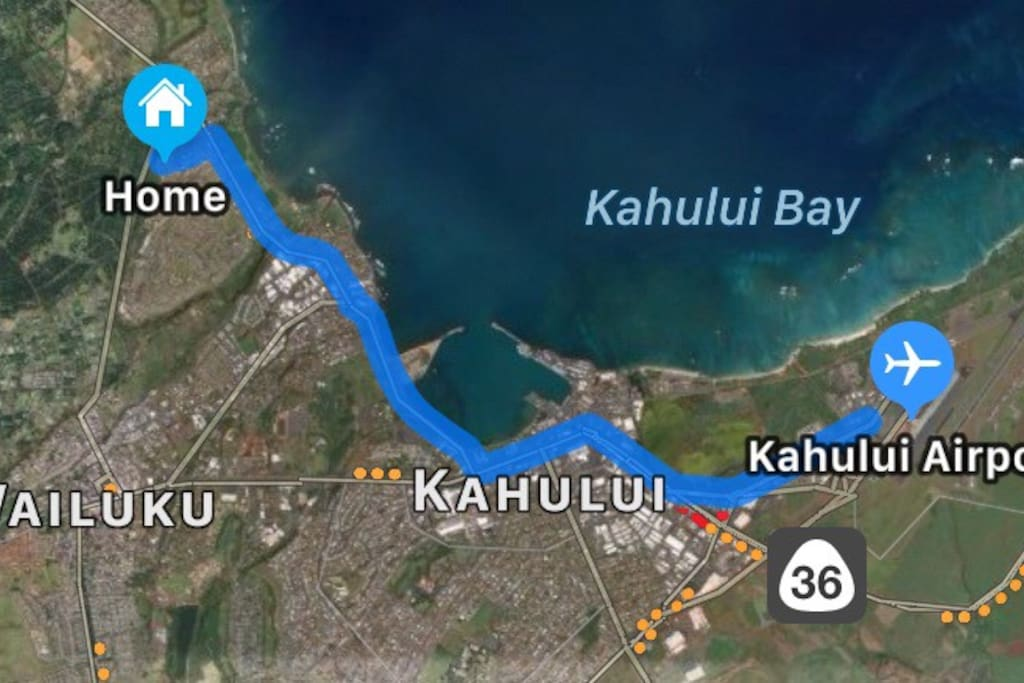 KAHULUI AIRPORT (OGG) —> HOME 10-15 MINUTES DRIVE