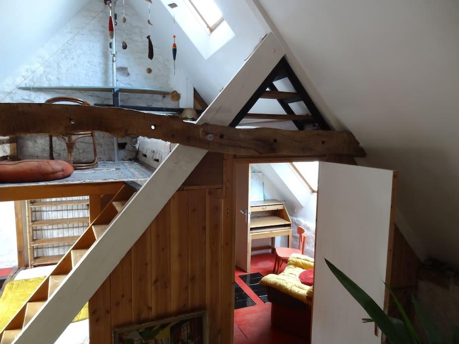 loft sur plusieurs niveaux,couchettes confortables