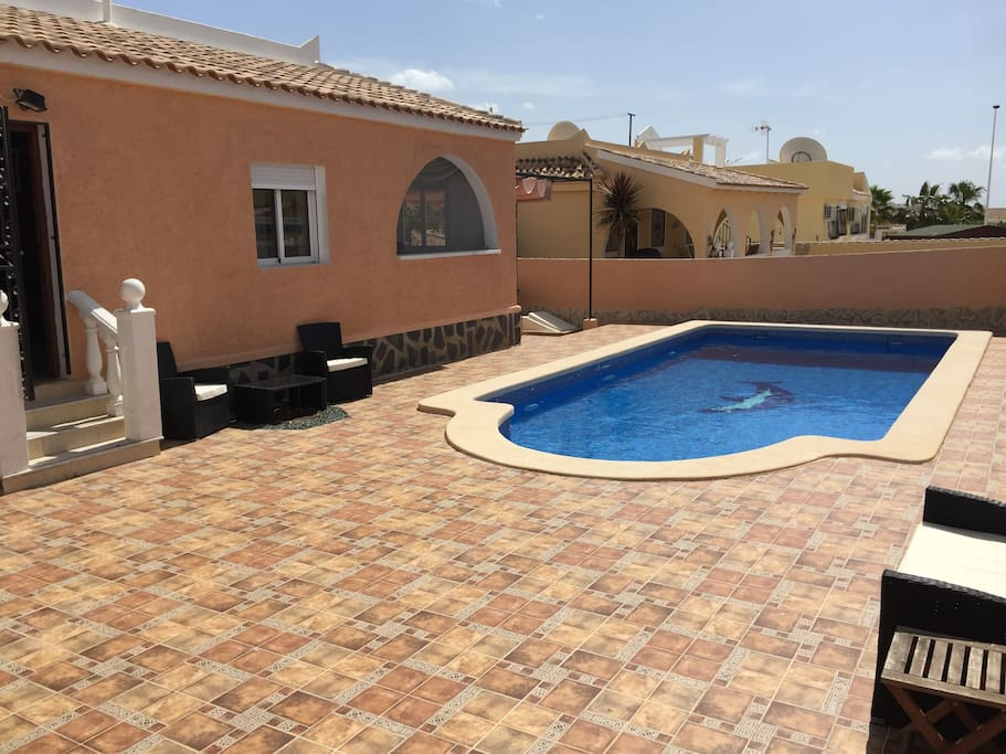 Large private south facing pool