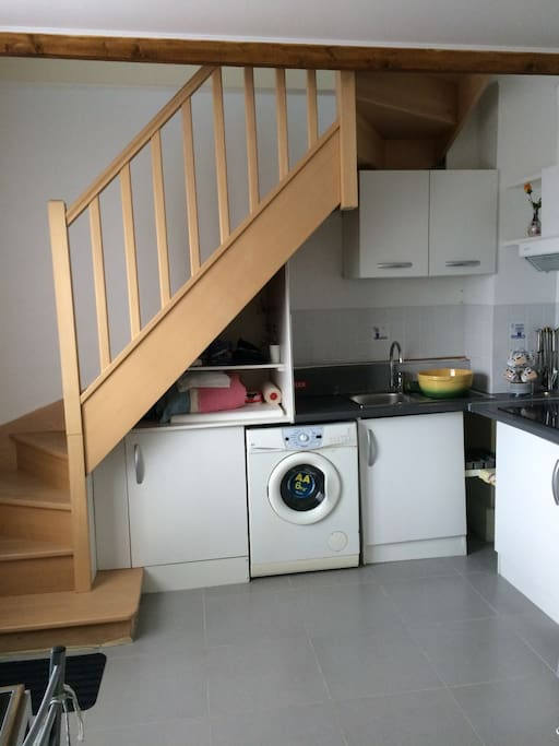Kitchen Stairs connected to Room