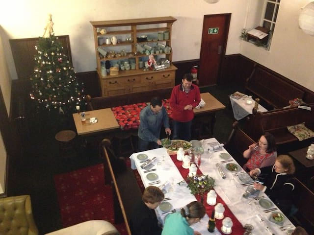 Christmas get together in large dining room