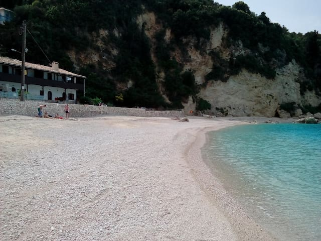 Agios Nikitas beach, recently enlarged due to natural reasons and sea currents.