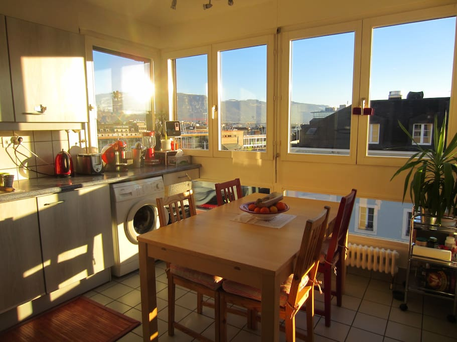 Our kitchen - sun all day long and view on the Mont blanc at the breakfast.