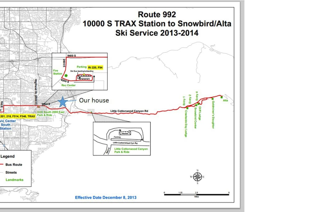 Position of our house on ski bus line #992, direct connection to Alta and Snowbird ski resorts.
