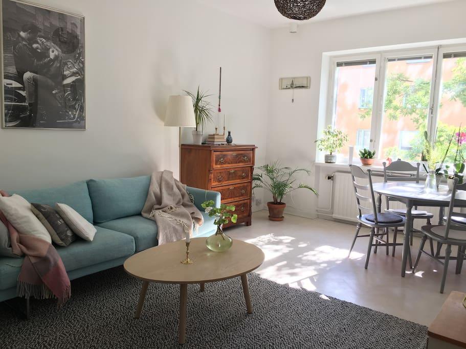 Matplats och soffa som fungerar mycket bra som enkelsäng.
