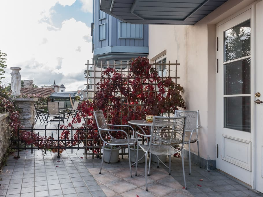 Balcony - with stunning views. Although it's ground floor apartment, you have view down the hill!