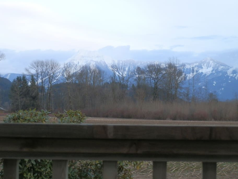 Snow-capped Mountain view from the deck