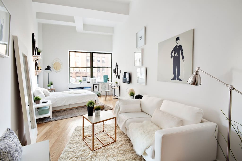 Bright, loft-like living space with 14 foot ceilings.
