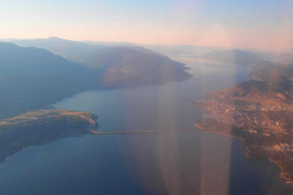 Arial view of Okanagan Lake