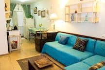 Comfortable living room. Kitchen is integrated, meaning better usage of space.