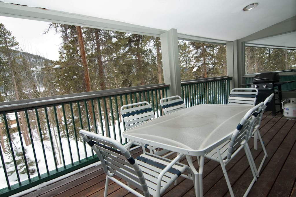 large deck with views and BBQ