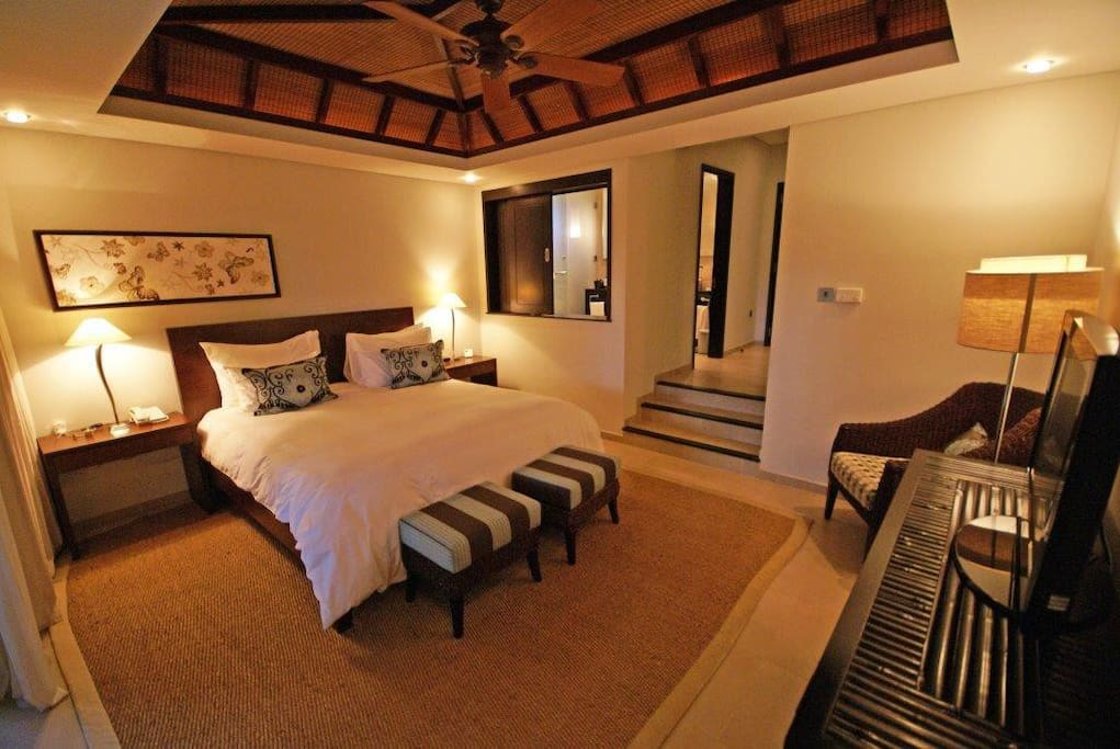 Our main bedroom with en-suite bathroom and views of the 9th fairway