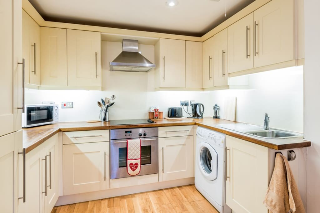 Kitchen, recently modernised with washing machine, integrated fridge/freezer, cooker and microwave